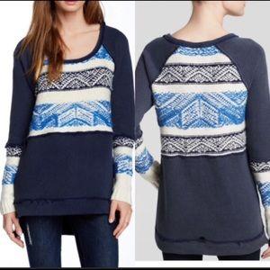Free People XS Snow Angel Indigo Blue Sweater